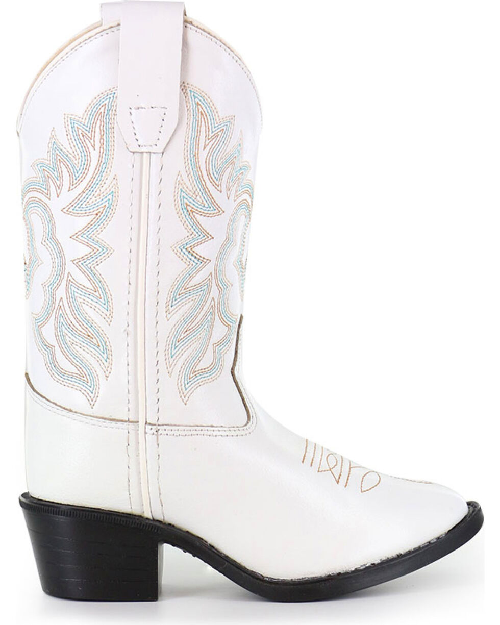Shyanne Girls' Embroidered White Western Boots - Round Toe, White, hi-res