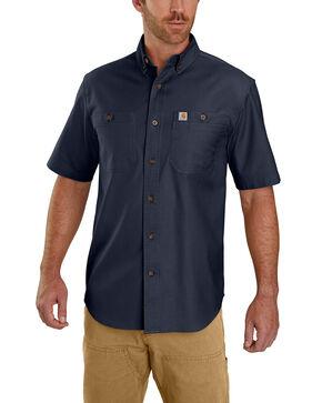 Carhartt Men's Navy Rugged Flex Rigby Short Sleeve Work Shirt - Big , Navy, hi-res