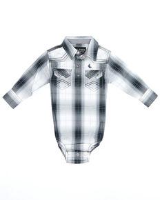 Cody James Infant Boys' Reel In Plaid Long Sleeve Snap Western Onesie , White, hi-res