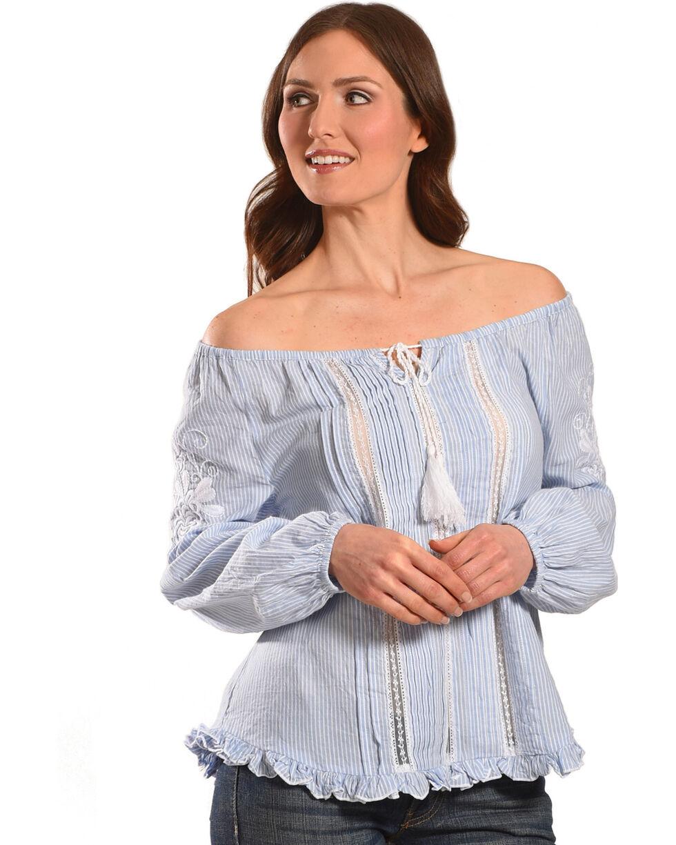 Bila Women's Blue Striped Peasant Top , Blue, hi-res