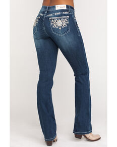"Grace in LA Women's Dark Geo Embroidered 34"" Bootcut Jeans , Blue, hi-res"