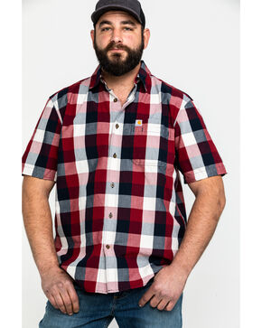Carhartt Men's Red Essential Plaid Short Sleeve Work Shirt , Red, hi-res