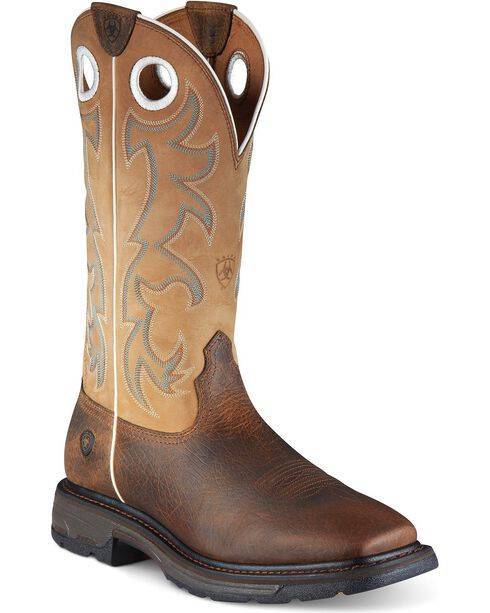 Ariat Workhog Pull-On Work Boots - Square Toe, Earth, hi-res