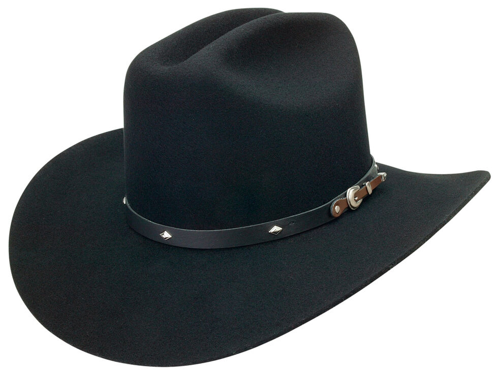 Silverado Men's Wool Felt Black Cowboy Hat, Black, hi-res