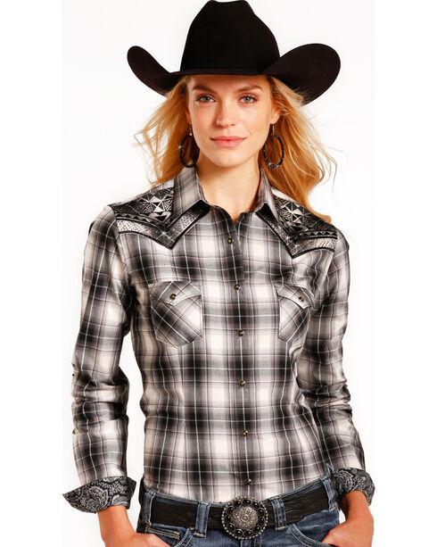 Rough Stock by Panhandle Women's Black Prospect Plaid Shirt , , hi-res