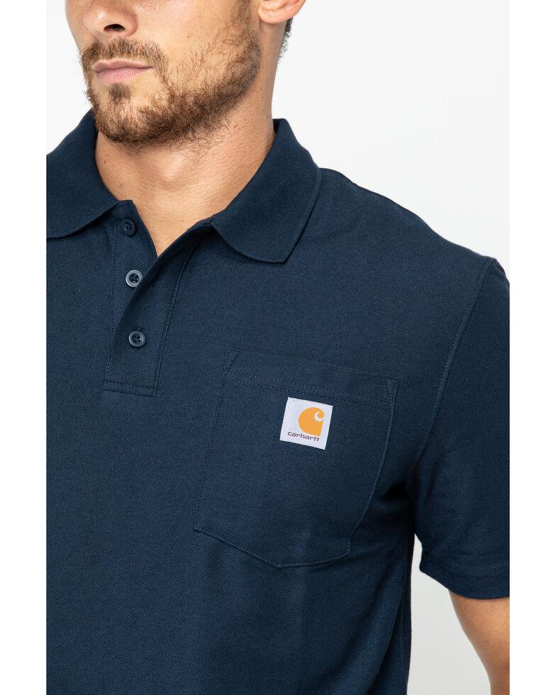 Carhartt Men's Contractor's Pocket Short Sleeve Polo Work Shirt - Big & Tall, Navy, hi-res