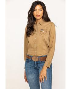 Wrangler Women's Tan Long Sleeve Western Shirt, Tan, hi-res