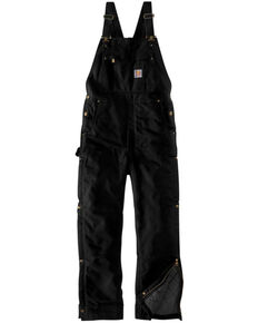 Carhartt Men's Black Firm Duck Insulated Bib Work Overalls , Black, hi-res
