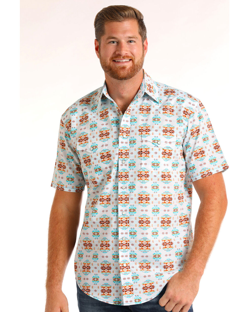 Rough Stock by Panhandle Men's Aztec Print Short Sleeve Shirt, White, hi-res