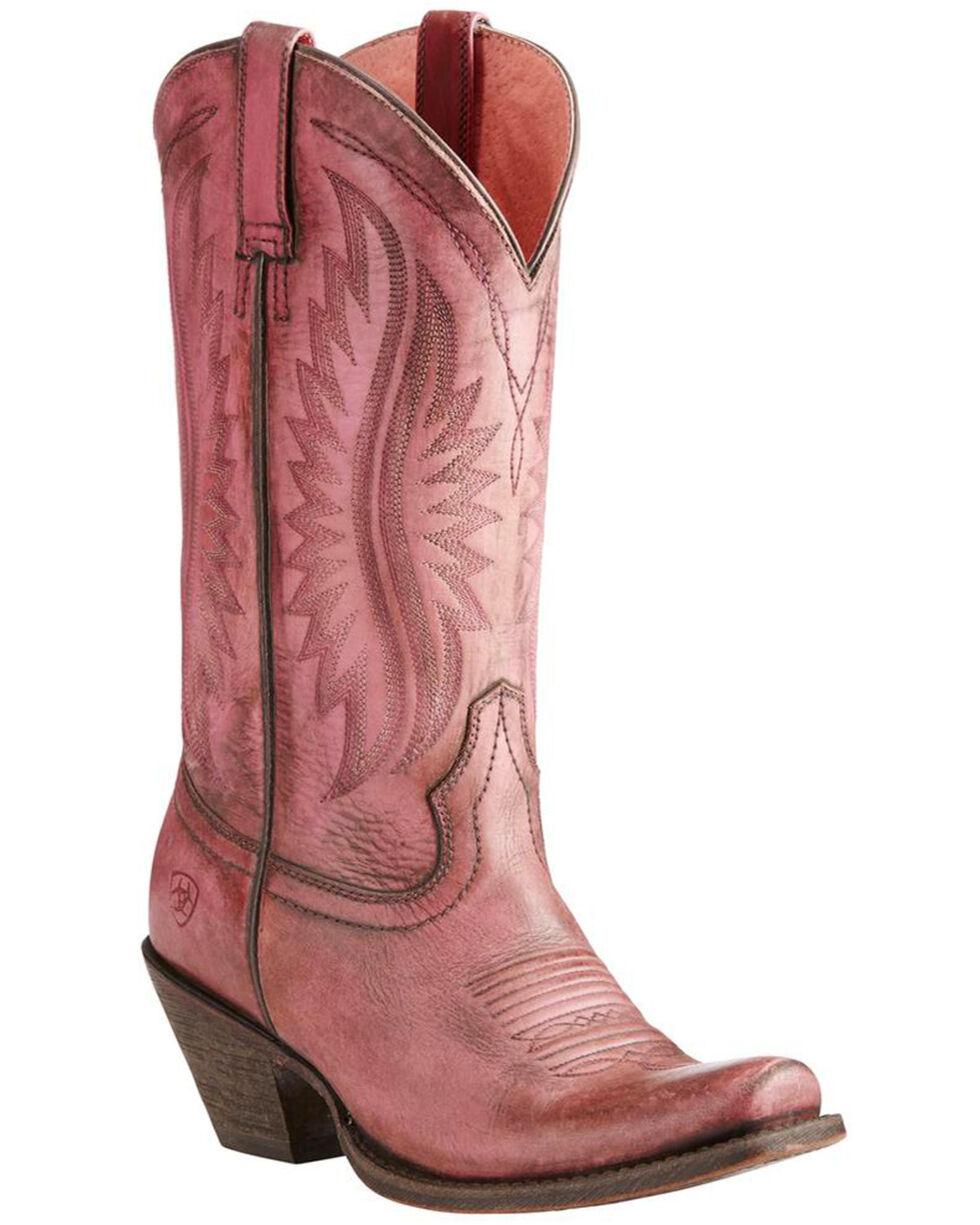 Ariat Women's Pink Circuit Salem Distressed Boots - Square Toe , Pink, hi-res