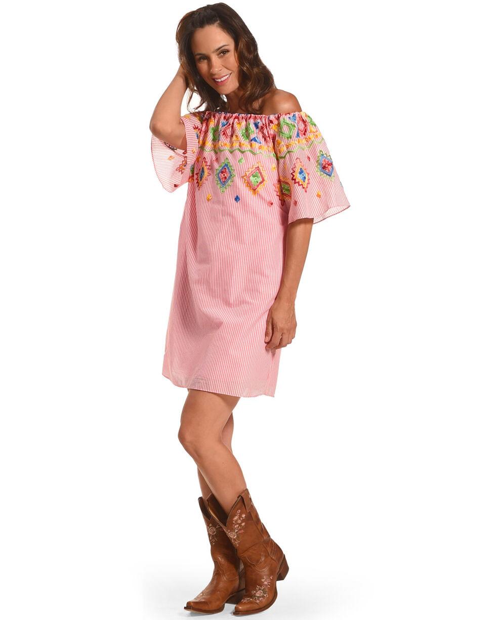CES FEMME Women's Pink Embroidered Off Shoulder Dress, Pink, hi-res