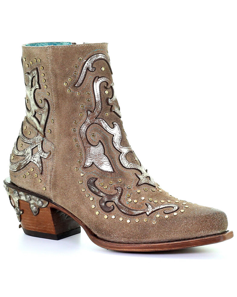 Corral Women's Sand Metallic Overlay Booties - Snip Toe, Sand, hi-res