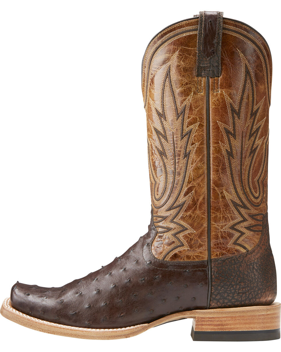 Ariat Men's Relentless All Around Full Quill Ostrich Boots - Square Toe , Brown, hi-res