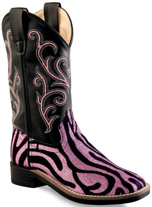 Old West Girls' Pink Zebra Design Western Boots - Square Toe, Zebra, hi-res