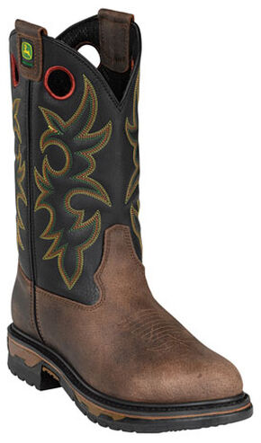 John Deere Men's Western Work Boots - Round Toe, Tan, hi-res