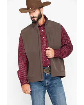 Cinch Men's Solid Windproof Zip-Up Vest , Brown, hi-res
