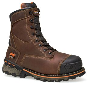 "Timberland Pro Boondock Waterproof 8"" Lace-Up Work Boots - Safety Toe, Brown, hi-res"