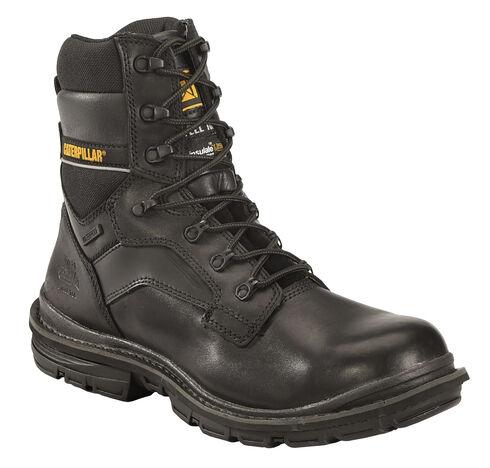 """Caterpillar Men's Flexion Generator 8"""" Waterproof Work Boots - Steel Toe, Black, hi-res"""