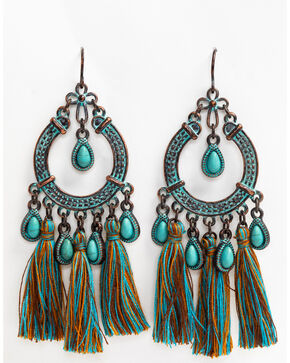 Shyanne Women's Patina Crescent Multi Color Fanned Tassel Earrings, Turquoise, hi-res