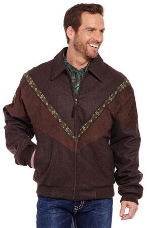 Cripple Creek Men's Brown Aztec Trim Wool Jacket, Chocolate, hi-res