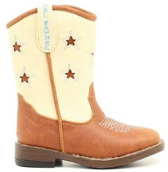Double Barrel Toddler Boys' Lone Star Inlay Side Zipper Cowboy Boots - Square Toe, Brown, hi-res