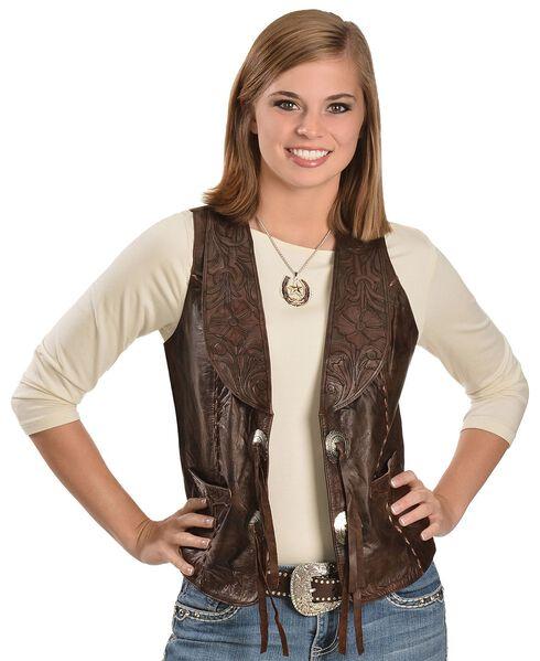 Kobler Floral Tooled Leather Vest, Brown, hi-res