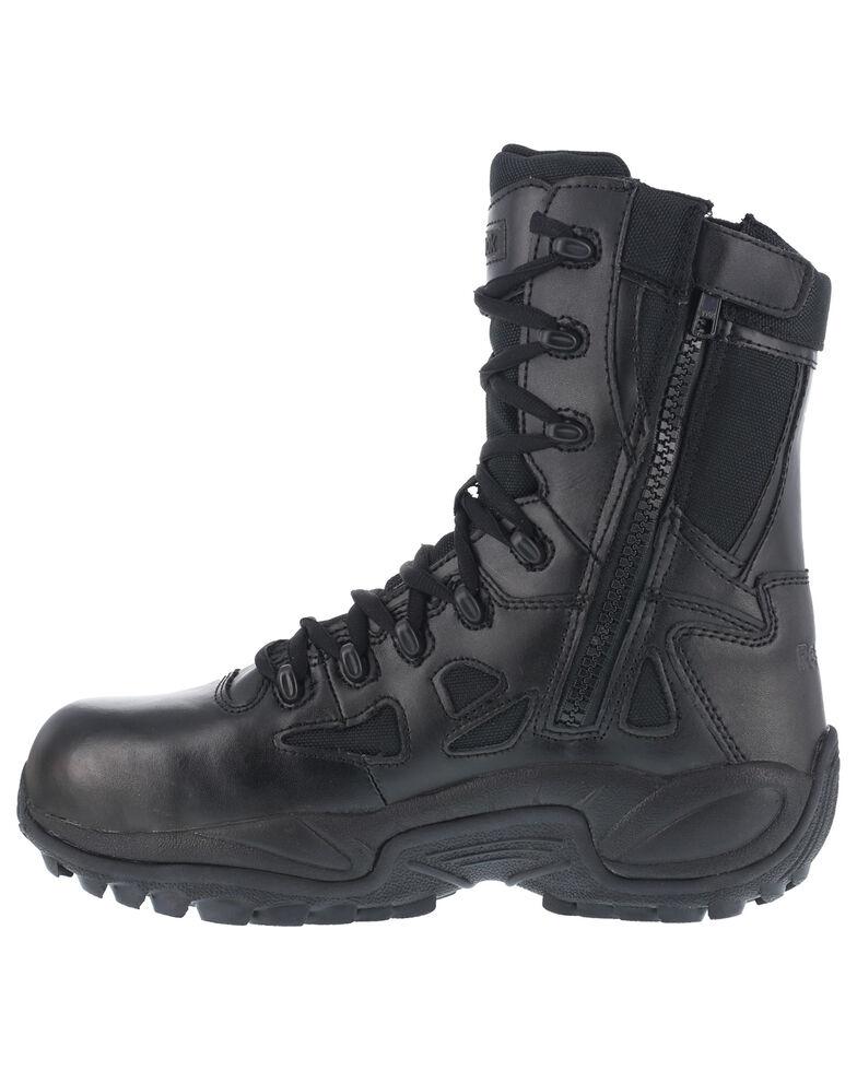 "Reebok Men's 8"" Lace-Up Black Side-Zip Work Boots - Composite Toe, Black, hi-res"