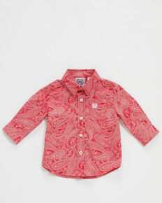 Cinch Infant Boys' Red Paisley Print Long Sleeve Button-Down Western Shirt , Red, hi-res
