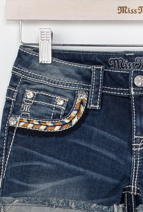 Miss Me Girls' Indigo Well Wishes Embroidered Shorts , Indigo, hi-res