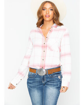 Shyanne Women's Plaid Button Side Flannel Long Sleeve Western Shirt , Blush, hi-res