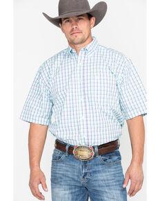 George Strait by Wrangler Men's Multi Small Plaid Short Sleeve Western Shirt, Purple, hi-res