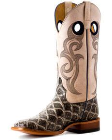 Horse Power Men's Asphalt Fish To Filet Western Boots - Square Toe, Dark Grey, hi-res