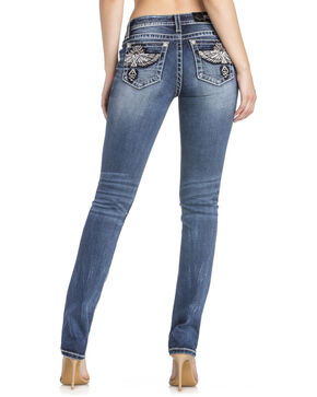 MIss Me Women's Eagle Pocket Straight Leg Jeans, Indigo, hi-res