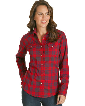 Wrangler Women's Red Plaid Western Shirt , Red, hi-res