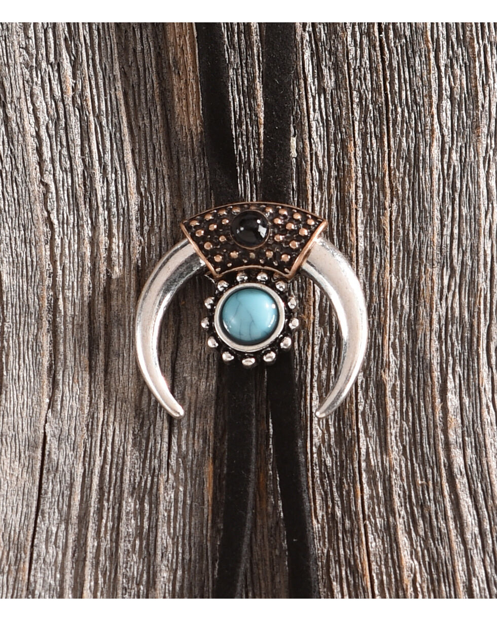 Shyanne Women's Turquoise Stone and Crescent Bolo Tie Necklace, Black, hi-res