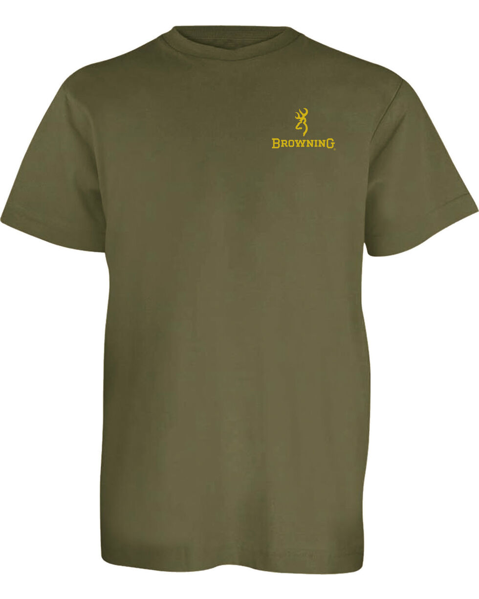 Browning Boys' Green Realtree Extra Buckmark Tee , Green, hi-res