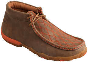 Twisted X Women's Orange Stitched Lace-Up Driving Mocs , Brown, hi-res