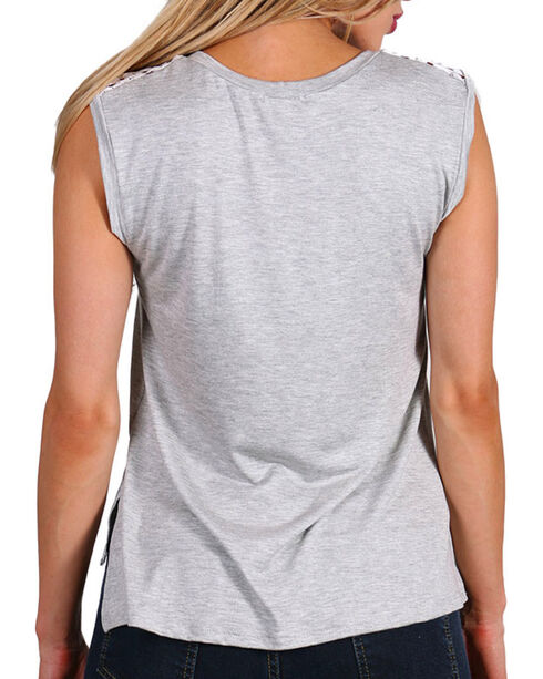 Angel + Premium Women's Lacy Grey Sleeveless Tee, Heather Grey, hi-res