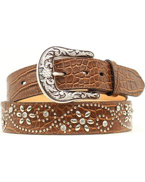 Ariat Croc Print Floral Studded Leather Belt, Brown, hi-res