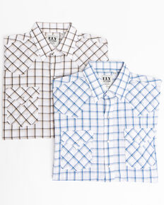 Ely Cattleman Men's Assorted Windowpane Plaid Long Sleeve Western Shirt , White, hi-res