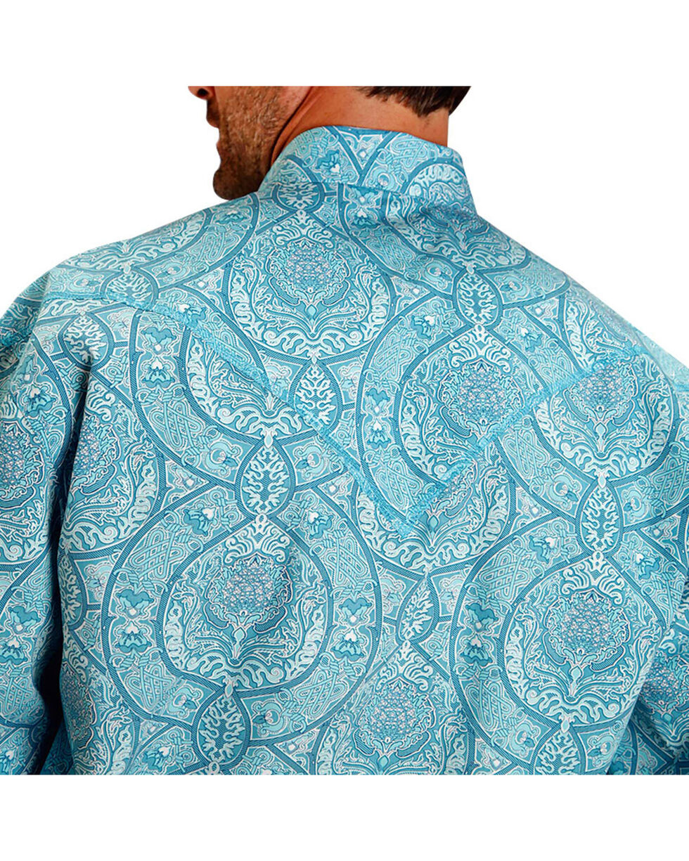 Stetson Men's Floral Long Sleeve Western Shirt , Turquoise, hi-res