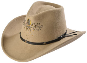 Destiny Rhinestone Embellished Crushable Wool Cowgirl Hat, Putty, hi-res