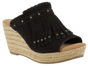 Minnetonka Women's Black Quinn Wedge Sandal , Black, hi-res