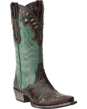 Ariat Women's Brown Zealous Barnwood Western Boots - Snip Toe , Brown, hi-res