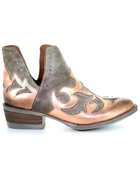 Circle G Women's Copper Overlay Cut Out Booties - Round Toe, , hi-res