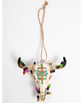 BB Ranch Turquoise Glitter Cow Skull Ornament, Multi, hi-res