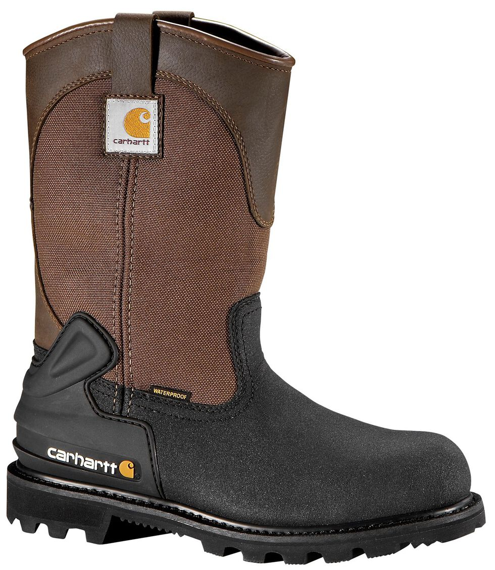 Carhartt Men's CSA Wellington Waterproof Work Boots - Steel Toe, Brown, hi-res