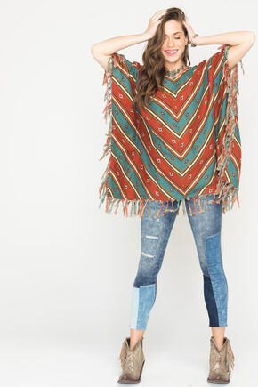 Ryan Michael Women's Serape Stripe Poncho, Chili, hi-res