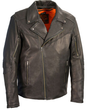 Milwaukee Leather Men's Black Lightweight Extra Long Biker Jacket , Black, hi-res
