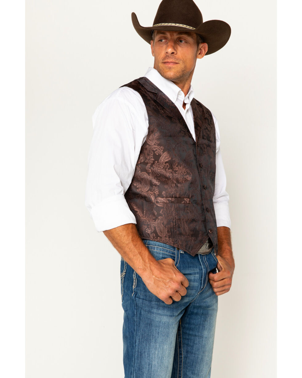Cody James Men's Paisley Printed Vest, Brown, hi-res